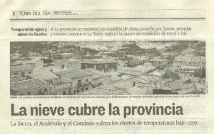 Nieva en la provincia ce Huelva