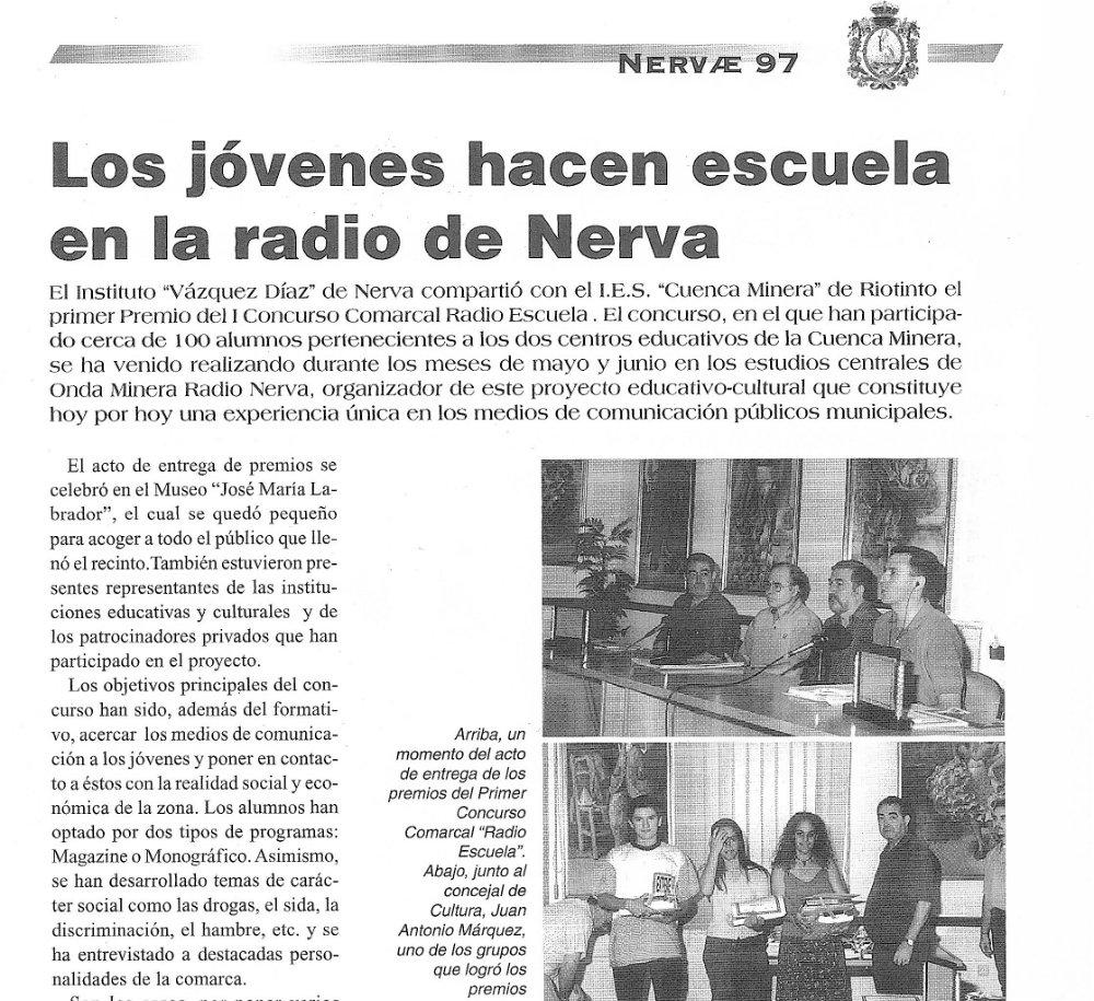 Artículo sobre Radio Escuela en la revista Nervar 1997