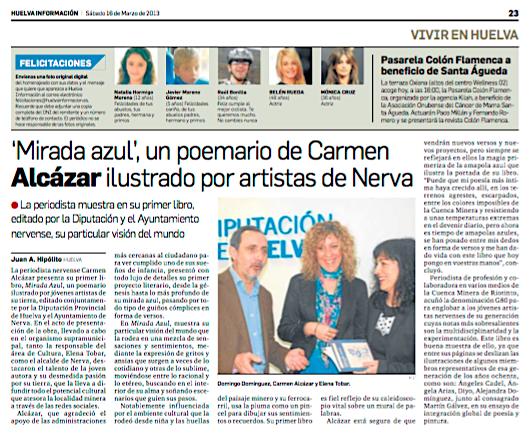 Noticia sobre la publicación de Mirada Azul de Carmen Alcazar
