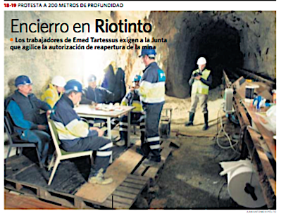 Encierro de mineros en Riotinto