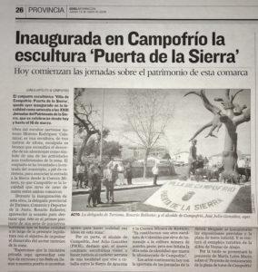 Recorte de prensa de la inauguración de la escultura de Calamina en Campofrío