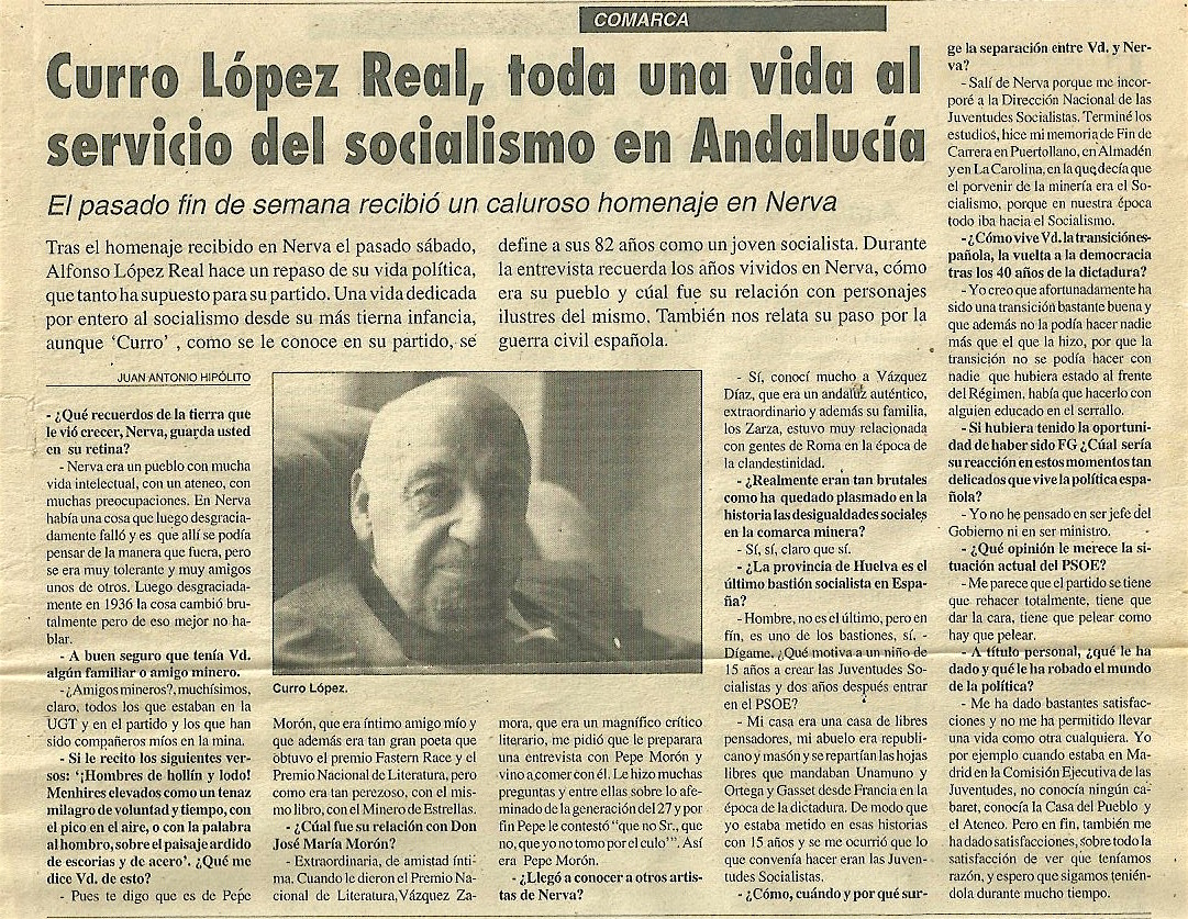 Entrevista a Curro López Real en 1995