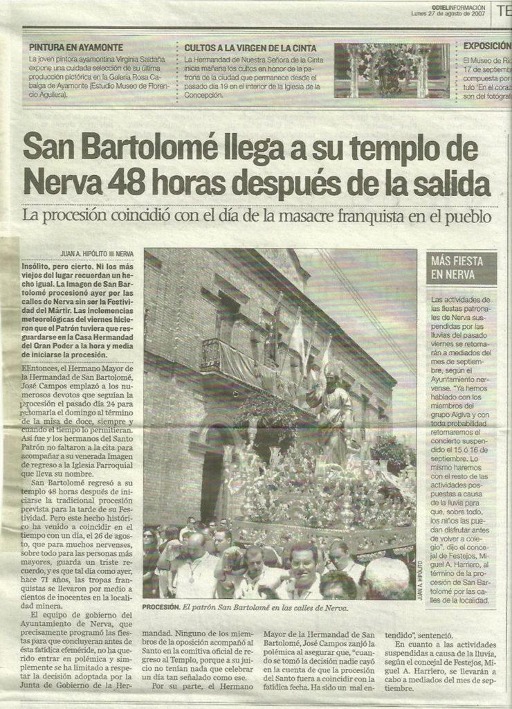 Procesión insólita de San Bartolomé en Nerva
