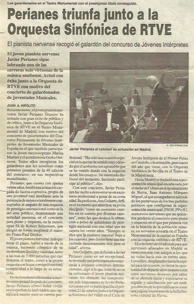 La crónica del concierto ofrecido por Perianes junto a la OSRTVE en Madrid en 1998