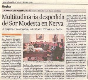 Noticia sobre el fallecimiento de Sor Modesta. Huelva Información 21 enero 2011