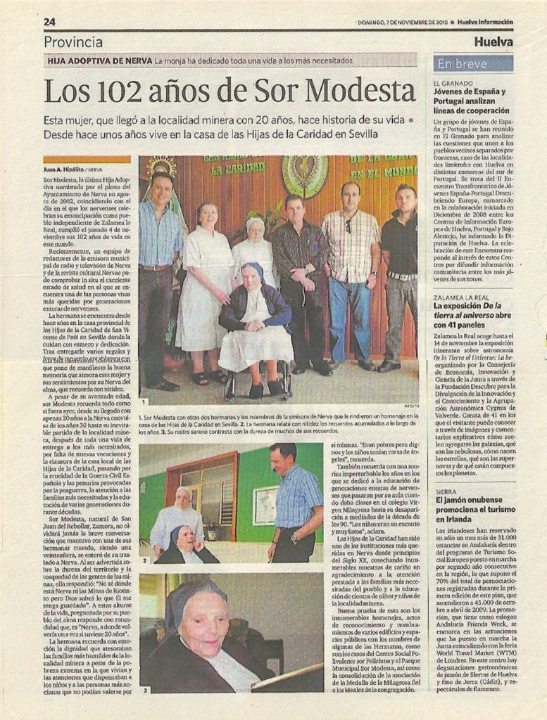 Crónica publicada en Huelva Información el 7 de noviembre de 2010