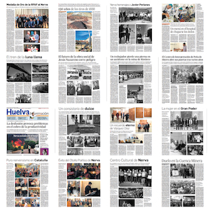 Portada del resumen de crónicas sobre Nerva publicadas por Juan A. Hipólito en Huelva Información durante 2018